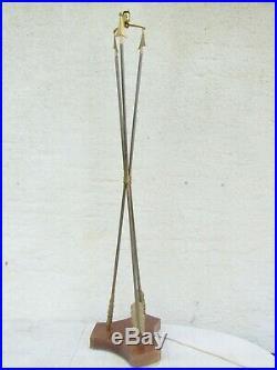 07f28 Ancien Lampadaire Lampe Art Déco 3 Fleches Laiton Croisees Gout De Jansen
