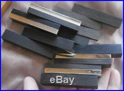 12 porte-couteaux ébène & métal chromé du MOZAMBIQUE style art déco moderniste