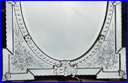 1880/1900' Miroir Venise Napoléon 3 à Fronton Ajouré 143 H X 83 cm