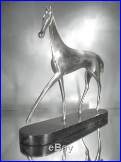 1930 K. Hagenauer Wiener Werkstätte Sculpture En Bronze Chromé Et Bois Art Déco