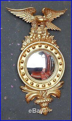 1950/70' Miroir Convexe à l' Aigle, Bois Doré H 97 cm