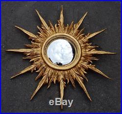 1950/70' Miroir soleil Convexe, Bois Doré 69 cm