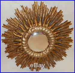1950 Miroir Soleil Convexe 2 Étages Bois Doré Et Argenté Diamètre 63 Cm