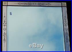 1950' Miroir rectangle Venise couleur cuivré avec cabochons carrés 86 X 150 cm