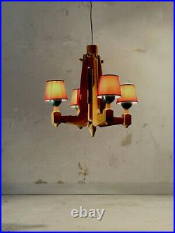 1970 Guillerme & Chambron Lustre Moderniste Rustique Shabby-chic Art Populaire