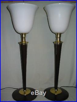 1 une Belle lampe art déco MAZDA ACAJOU ET LAITON bois massif en parfait état