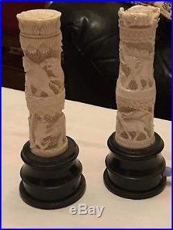 2 Anciennes veilleuses sculptées africaines 1940 Hauteur21cm Bon État