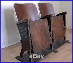 2 Fauteuils strapontins de trolley 1930 Art Deco en bois, fonte et cuir