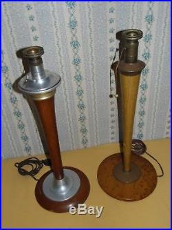 2 PIEDS DE LAMPE MAZDA HAUTEUR 58 & 60 CM art déco 1930 design vintage France BE