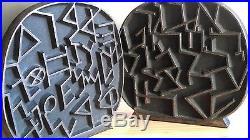 2 SERRE-LIVRES JUDAICA ART & CRAFT de YEHIEL HADANY ANCIEN ALPHABET HEBREW