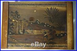 2 Tables Gigogne 1930 Marquetterie Decor Africaniste Bois Exotique (a389)