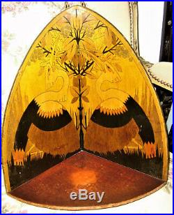 3 ancienne étagère bois décor 1900 pyrogravé art nouveau art déco époque Gallé