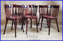 6 chaises bistrot BAUMANN N°104 années 30, bois courbé, no thonet, café resto