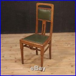 6 chaises meubles en bois Art Deco fauteuils sièges cuir style ancien salon