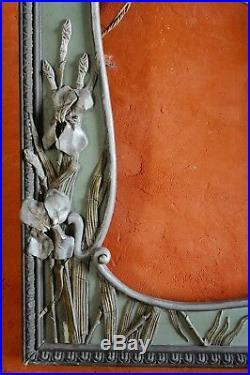 ANCIEN ET GRAND CADRE ART NOUVEAU Bois et stuc décor Iris 82 x 61cm RARE DECO ++