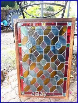 ANCIEN VITRAIL 46x74/VITRAUX/FIN XIX-debut XXème/ENTOURAGE BOIS/52,5x79,5x2cm