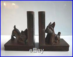 ART DECO serre livre aux chiens scottish yeux verres