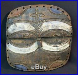 A Art Africain Masque ancien téké Congo double regard 30cm déco bois pigment