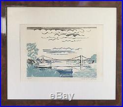 Alfred LATOUR 1888-1964. Le Pont. Circa 1950. Gravure sur bois. SBD. 22x16. Cadre