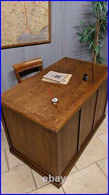 Ancien BUREAU de maitre d'école à caissons en bois chêne meuble métier