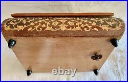 Ancien Coffret Marqueterie Boite A Bijoux À Musique