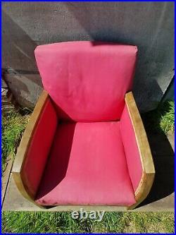 Ancien Fauteuil Bois & Tissu Rouge ART DECO A Restaurer Vintage