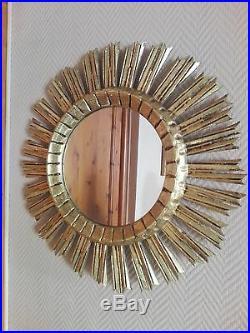 Ancien Grand Miroir Soleil En Bois Doré Art Déco Diamètre 53 CM