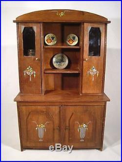 Ancien Jouet Meuble Buffet Vaisselier Poupée Motifs ART DECO 1930 Doll furniture