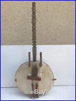Ancien KORA Instrument à Corde Guitare Africaine Bois + Peau Vintage