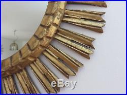 Ancien Miroir Soleil En Bois Dore Art Deco XXL Diametre 62 CM