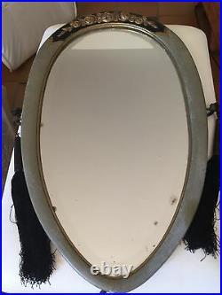 Ancien Miroir mural Art Deco Platre roses sur bois passementerie Glass Mirror