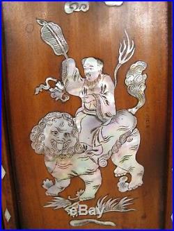 Ancien Paravent Miniature de table Bois Nacre Asiatique Chine 4 vantaux début XX
