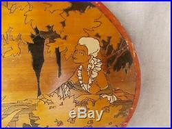 Ancien Tableau Peinture Sur Bois Petits Clous Art Deco Signe C. Chevallier 1928