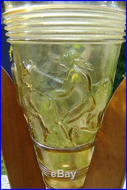Ancien Vase Conique Moule Presse Art Deco Base Bois Ailettes 1930/40 N2495