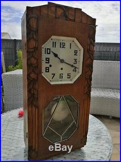 Ancien carillon mural pendule horloge bois marteaux vintage french old clock