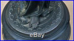 Ancien couple statue régule sur BOIS NOIRCI ARTÉMIS & APOLLON étoile soleil