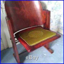 Ancien fauteuil de cinéma 1930 théâtre bois et tissu velours vert vintage
