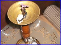 Ancien lustre plafonnier en laiton bois et verre gravé Art Déco