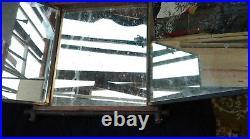 Ancien miroir TRIPTYQUE 3 VOLETS, loft, vintage