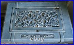 Ancien poêle à bois UNIC en fonte bleue émaillée ART DECO