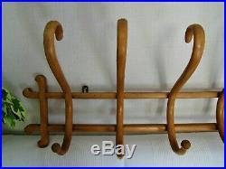 Ancien porte manteaux chapeaux signé THONET Patère Art Déco Bistrot bois courbé