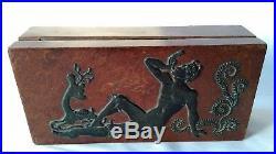 Ancienne Boite Rectangulaire Art Déco L'après-midi D'un Faune Bois Et Étain