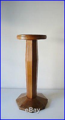 Ancienne Colonne En Bois Noyer Pour Sculpture Art Deco Années 50 Vintage 1950