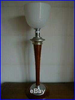 Ancienne Lampe Mazda Art Deco Complete Abat Jour Opaline Pied Bois Vers 1930