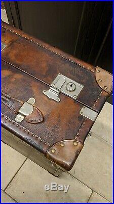 Ancienne MALLE CABINE de voyage années 1930 en cuir marron bagage