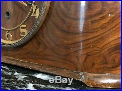 Ancienne Pendule A Poser En Bois Art Deco Carillon Acajou