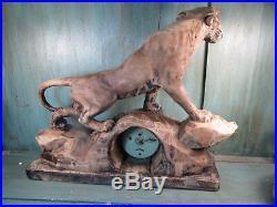 Ancienne Pendule Tigre Lion Horloge 1950 Scupture Bois Ancien Art Deco Vintage