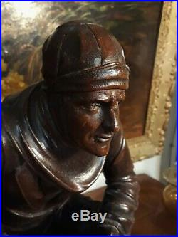 Ancienne STATUES marine bretonne signé M. FOUILLEN bois sculpté de 1932