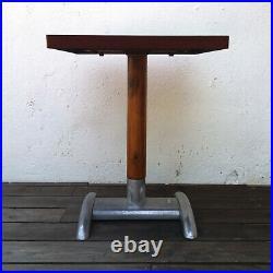 Ancienne Table Bistrot Bakélite Bois Aluminium Années 40 Vintage Art Deco