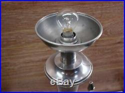Ancienne belle lampe de travail Mazda Art Déco bois et aluminium